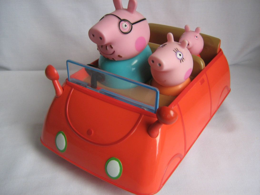 Peppa Pig, red car, Daady Pig, Nickelodeon, TV serie,