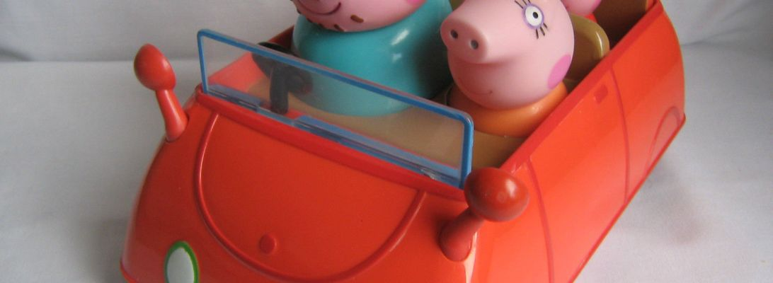 Peppa Pig, red car, Daady Pig, Nickelodeon, TV serie,